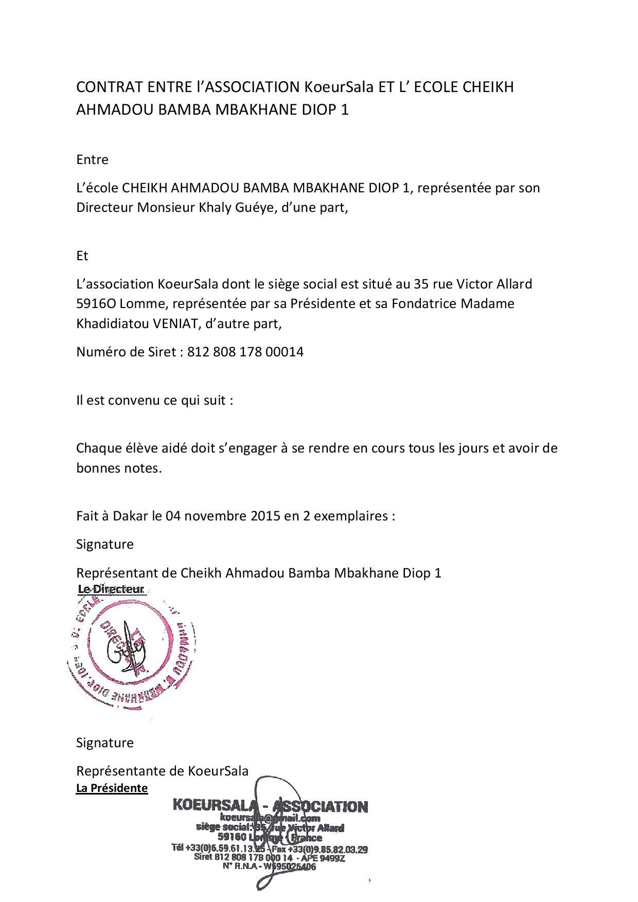 Contrat d Objectif entre Ecole Bamba Diop 1 et KoeurSala
